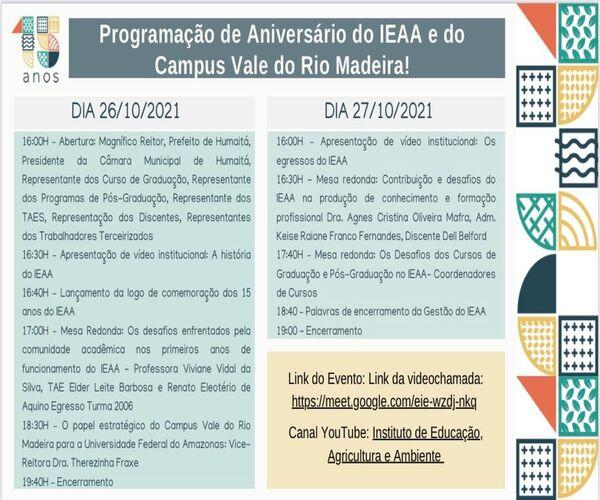 Programação de Aniversário do IEAA e do Campus Vale do Rio Madeira